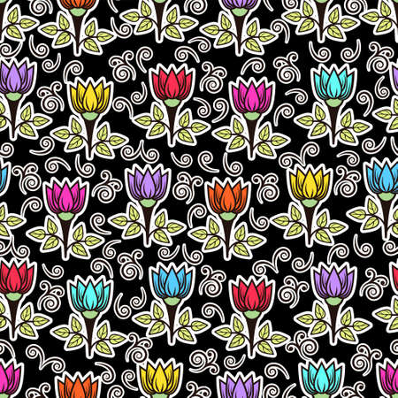 Floral seamless pattern, colorful blooming background. Cute multicolor flower buds on stems with leaves with white outline on black backdrop. For fabric design, wallpaper, print. Vector illustration
