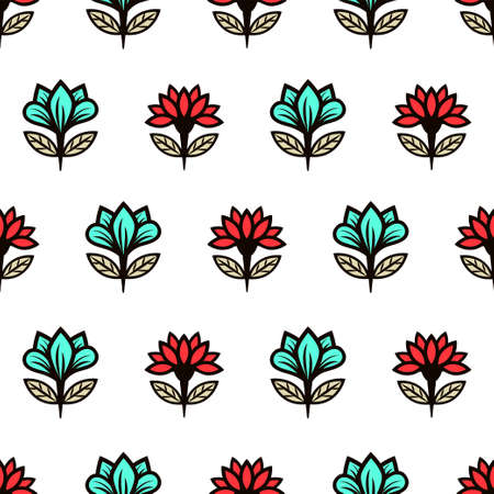 Floral seamless pattern, stylish colorful blooming background. Cute red and turquoise buds on black stems with green leaves on white backdrop. For fabric design, wallpaper, print. Vector illustration