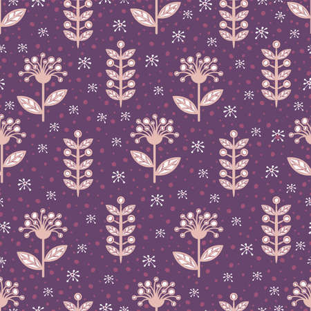 Floral line seamless pattern, creative stylish background. Cute beige white flower buds on stem with leaves on purple background with speck. For fabric design, wallpaper. Vector illustration