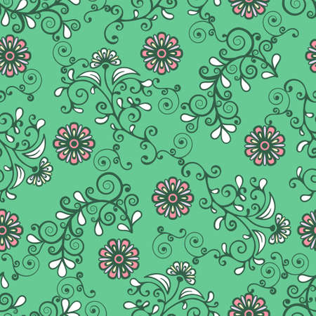 Floral seamless pattern, colorful blooming plant elegant background. Cute pink flower, white leaves and curls lace on green backdrop. For fabric design, wallpaper, wrapper, print. Vector illustration Vectores