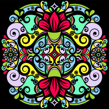 Floral abstract ornament, bright colorful pattern, multicolored ethnic tracery, hand drawing. Ornate decorative element with flowers and curls isolated on black background. Vector illustration Vectores