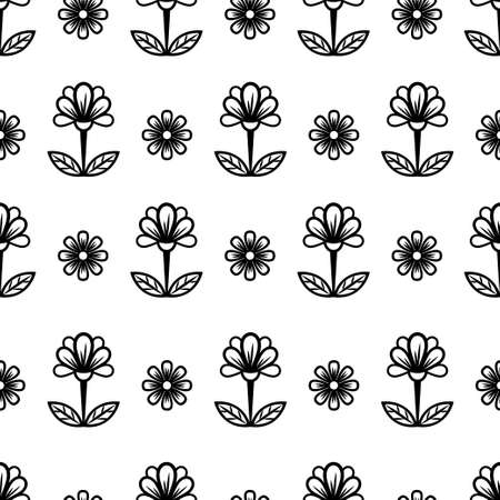 Floral line seamless pattern, black and white drawing, monochrome blooming, coloring sketch, background. Cute flower buds on stems with leaves. For fabric design, wallpaper. Vector illustration