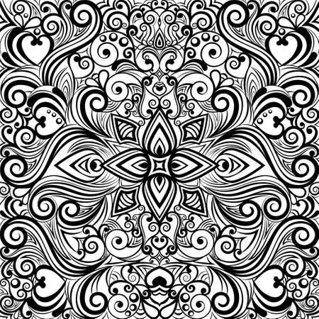 Floral abstract ornament, black and white pattern, monochrome ethnic tracery, hand drawing, coloring. Ornate decorative element with flowers and curls isolated on white background. Vector illustration