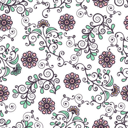 Floral seamless pattern, colorful blooming plant elegant background. Cute pink flower, green leaves and curls lace on white backdrop. For fabric design, wallpaper, wrapper, print. Vector illustration