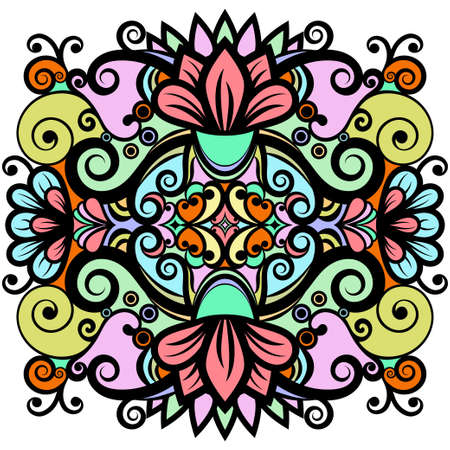 Floral abstract ornament, bright colorful pattern, multicolored ethnic tracery, hand drawing. Ornate decorative element with flowers and curls isolated on white background. Vector illustration