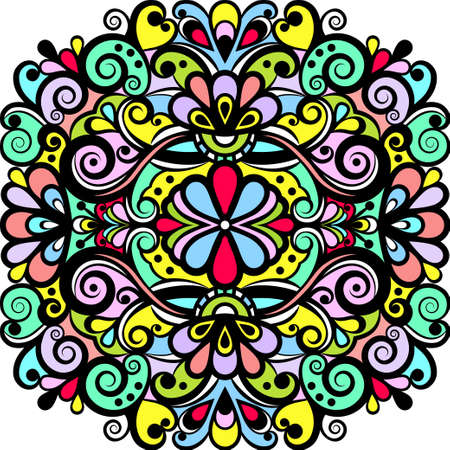 Floral abstract ornament, bright colorful pattern, multicolored background, ethnic tracery, hand drawing. Ornate decoration with flowers and curls with black outline isolated. Vector illustration Vectores