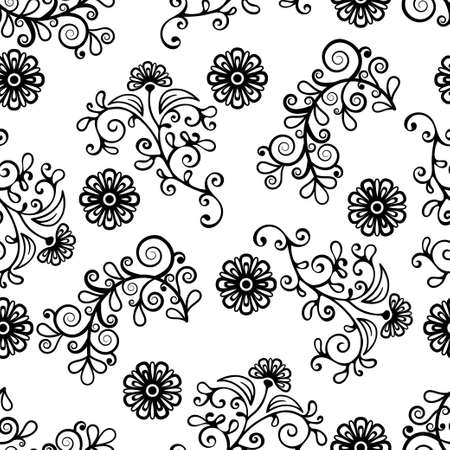Floral line seamless pattern, black and white drawing, monochrome blooming, coloring background. Cute flower, floral stem with leaves and curls. For fabric design, wallpaper. Vector illustration 矢量图像