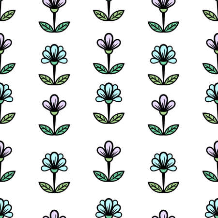 Floral seamless pattern, stylish colorful blooming background. Cute purple and blue buds on stems with green leaves on white backdrop. For fabric design, wallpaper, print. Vector illustration