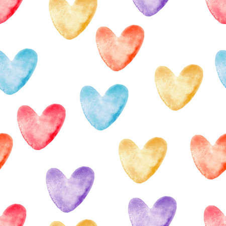 Watercolor hearts seamless pattern, bright colorful hand painted background, multicolored love signs and symbols. For fabric design, textile, wallpaper, wrapping, cards, invitations, decorations
