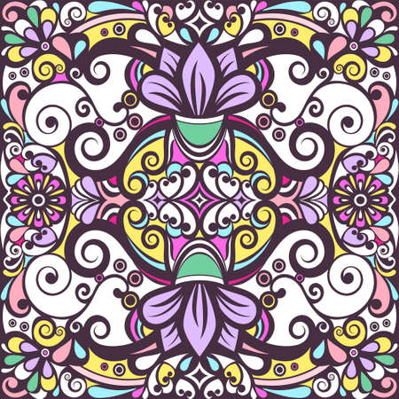 Floral abstract ornament, bright colorful pastel pattern, multicolored background, ethnic tracery, hand drawing. Ornate decorative element with flowers and curls isolated. Vector illustration