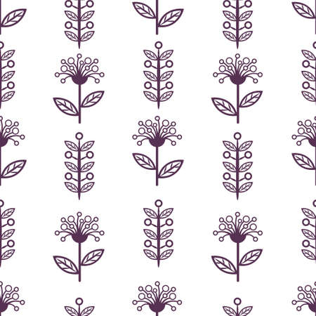 Floral line seamless pattern, black and white drawing, monochrome blooming, coloring sketch, background. Cute purple flower buds on stem with leaves. For fabric design, wallpaper. Vector illustration