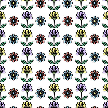 Floral seamless pattern, stylish colorful blooming background. Cute multicolor buds on stems with green leaves on white backdrop. For fabric design, wallpaper, print. Vector illustration