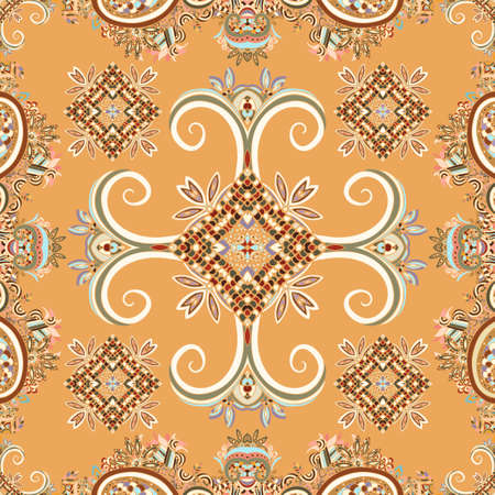 Abstract oriental Vector ethnic ornaments, colorful seamless pattern