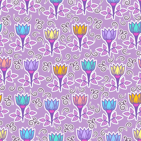 Floral seamless pattern, colorful blooming background. Cute multicolor flower buds on stems with leaves with white outline on lilac backdrop. For fabric design, wallpaper, print. Vector illustration