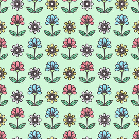 Floral seamless pattern, stylish colorful blooming background. Cute multicolor buds on stems with green leaves on mint backdrop. For fabric design, wallpaper, print. Vector illustration