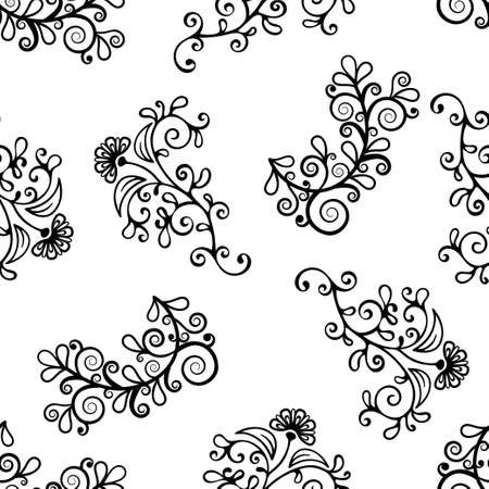 Floral line seamless pattern, black and white drawing, monochrome blooming, coloring background. Cute flower, floral stem with leaves and curls. For fabric design, wallpaper. Vector illustration Vectores
