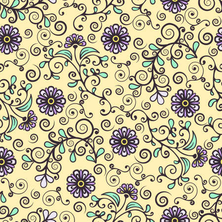 Floral seamless pattern, colorful blooming plant elegant background. Cute purple flower, green leaves and curls lace on yellow backdrop. For fabric design, wallpaper, print. Vector illustration