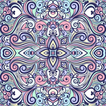 Floral abstract ornament, bright pastel colorful pattern, multicolored background, ethnic swirl tracery, hand drawing. Ornate decoration with flowers and curls isolated. Vector illustration