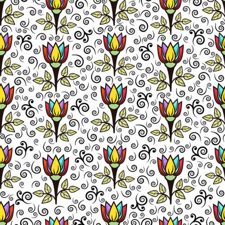 Floral seamless pattern, stylish colorful blooming background. Cute multicolor flower buds on stems with green leaves on white backdrop. For fabric design, wallpaper, print. Vector illustration