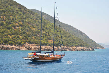 moutains: sailingboat in the sea near Bodrum