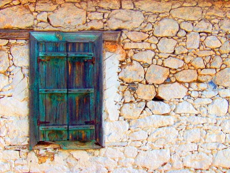 Abstract coloured old window in white house photo