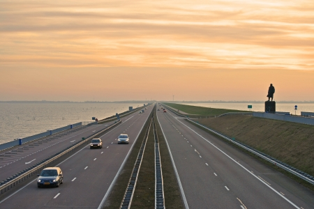 Endless road in the sea, Afsluitdijk  photo
