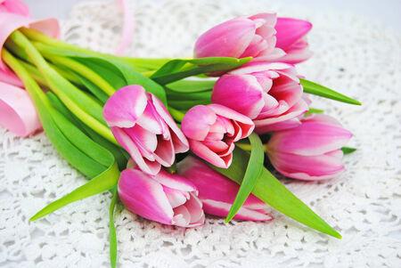 Mooie roze tulpen Stockfoto