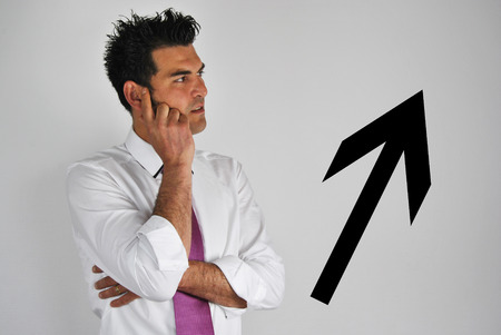 Man thinking of a good plan to make things better in the crisis  photo