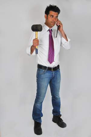 workingman: From a career man with tie to a working man with working shoes  Stock Photo