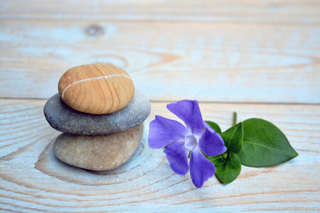symbolic: Three zen stones on old wood decorated purple flower Stock Photo