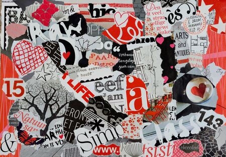 Moodboard of magazines for girls in red black and white photo