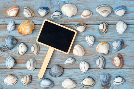 seafruit: copyspace empty black chalkboard axis label tag on a old wooden background with sea shells Stock Photo