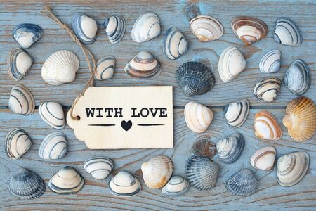 seafruit: Empty copyspace with love label tag on old wooden background with sea shells