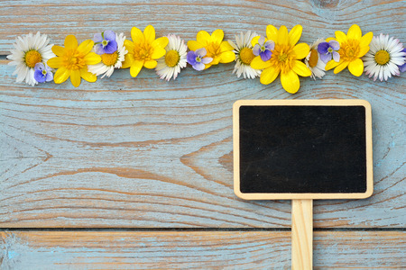 field of flowers: bluegray wooden shelves background with black empty copyspace chalkboard axis tag tag and field flowers