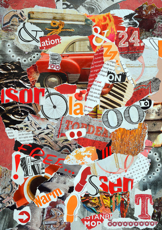 lapels: Atmosphere sheet moodboard or teared magazines in red, orange, brown, wooden colors Stock Photo
