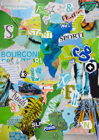 teared: Atmosphere sheet moodboard or teared magazines in green, blue wooden colors Stock Photo