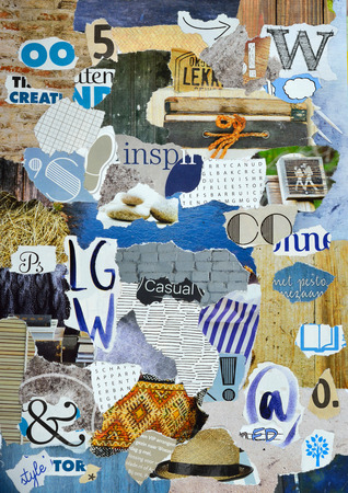 Moodboard made or teared pieces magazines in blue, gray and wooden colors Stock Photo