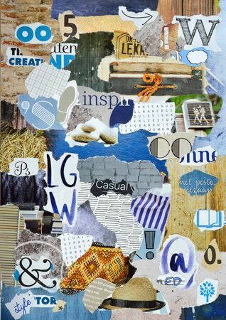 clippings: Creative art Mood board made or teared pieces magazines in blue, gray and wooden colors