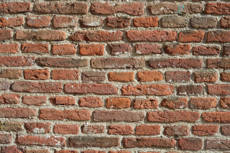 forground: brown old red bricks wall with empty copy space Stock Photo