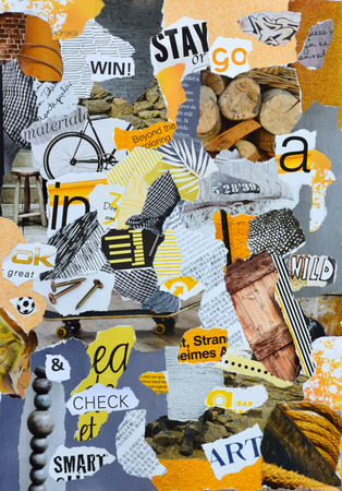 reading material: Atmosphere sheet moodboard or teared magazines in yellow, blue, gray, wooden colors Stock Photo