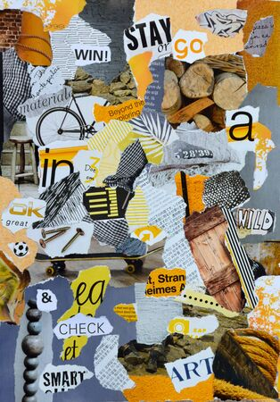 teared: Atmosphere sheet moodboard or teared magazines in yellow, blue, gray, wooden colors Stock Photo