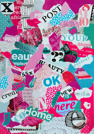 teared: Atmosphere sheet moodboard or teared magazines in purple, blue, pink, colors Stock Photo
