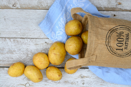 tea towel: Organic fresh uncooked potatoes in a burlap bag on a old weathered white wooden shelves background with vintage blue kitchen tea towel with copy space