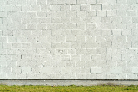 forground: white painted bricks wall with empty copy space with green grass Stock Photo