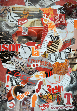 teared: Mood background board collage made of teared magazines in red, orange and black colors