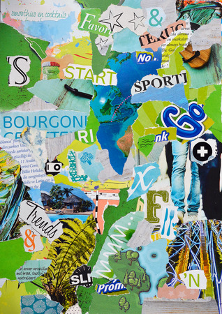 teared: Moodboard collage or teared magazines in yellow, blue, green an gray colors