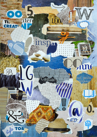 teared: Atmosphere color petrol blue, gray, yellow, brown, black mood board collage sheet made of teared magazine paper with figures, letters, colors and textures, results in art