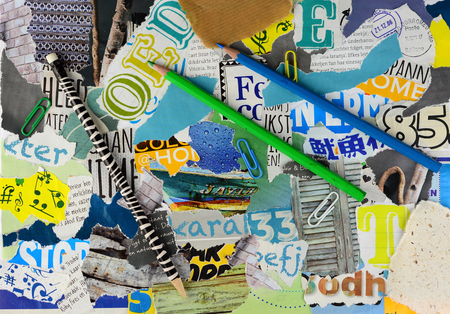 teared: Moodboard collage or teared magazines in yellow, blue, green an gray colors with pencils