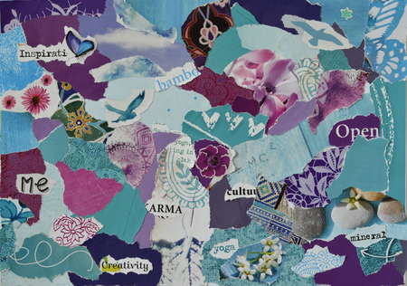 teared: Atmosphere color aqua, blue, purple and pink serenity mood board collage sheet made of teared magazine paper with figures, letters, colors and textures, results in art