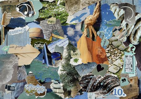 Atmosphere moodboard collage sheet in color blue, gray and brown made of teared magazine paper with figures, letters, colors and textures, results naturally in sea art Stock fotó